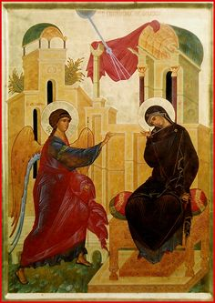 "Annunciation of the Theotokos. 2004. Wood, gesso, tempera, gilding. 25,2""x 17,3"". Archangels church of the monastery of st. James, brother of the Lord, in Peristera (Thessaloniki, Greece)."