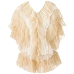 Tulle Blouse (Cream and Beige) (240 BAM) ❤ liked on Polyvore featuring tops, blouses, cream camisole, special occasion blouses, evening tops, beige blouse and flutter-sleeve tops