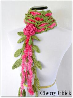 Rose Lariat Crocheted Bright Pink Victorian by Vintage Cherry Shop #Crochet