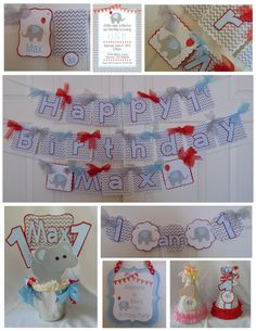 Elephant Birthday Party Package baby by ASweetCelebration 1st Birthday Decorations, Birthday Party Hats, Birthday Ideas, Elephant Birthday, Party Package, Packaging, Baby Shower, Holiday Decor, Products