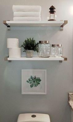Bad Styling, Bathroom Storage Shelves, Bathroom Organization, White Bathroom Shelves, Bathroom Shelves Over Toilet, Toilet Storage, Small Storage Shelves, Shelves Above Toilet, Bedroom Shelves