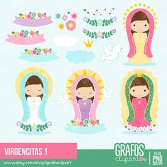 VIRGENCITAS  Digital Clipart Set Religious by GRAFOSclipart