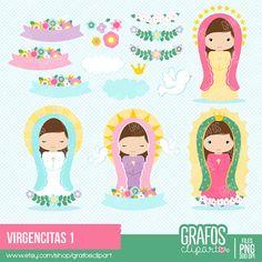 VIRGENCITAS - Digital Clipart Set, Imagenes Virgenes, Virgen de Guadalupe, Virgen Maria, Mi Primera Comunion.