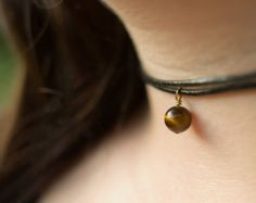 Leather Choker Tiger Eye Necklace Gemstone Choker Black Leather Choker Gemstone Charm Gold Plated Charm Choker Necklace