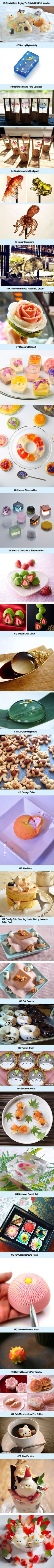Crafty desserts from Japan - These are Stunning! Ali would love all of the kitties. Japanese Candy, Japanese Sweets, Cute Japanese, Japanese Food, Cute Food, Yummy Food, Cookies Et Biscuits, Cake Cookies, Macaron
