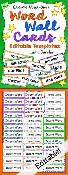 Create Your Own Word Wall Cards for any subject area with these editable templates from Laura Candler! Choose a border design, add your own words, and customize the font and background. Includes over a dozen templates and step-by-step directions.