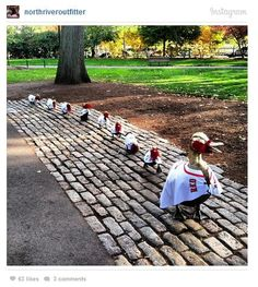 "Make way for ""Boston Red Sox"" Ducklings! Taken at the Boston Common, Boston MA. Duck Statues from the Iconic book which took place in Boston dressed to celebrate the 2013 World series between the Red Sox and the Cardinals. Boston Common, In Boston, Boston Red Sox, Boston Baseball, Boston Sports, 2013 World Series, Make Way For Ducklings, Red Sox Nation, Boston Strong"