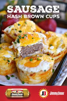On Mothers Day, honor the special women in your life with these tasty Sausage Hash Brown Cups. Each delicious cup is packed with unforgettable flavor—Jimmy Dean® Signature Seasoned Sausage, hash browns, eggs, cheese and more. Jimmy Dean, Breakfast Desayunos, Breakfast Dishes, Breakfast Recipes, Breakfast Ideas, Sausage Breakfast, Hash Brown Cups, Brunch Recipes, Dinner Recipes