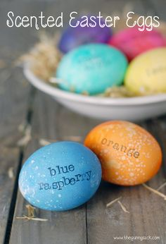 Add a fun twist to the traditional dyed Easter eggs by adding fun scents to the eggs!