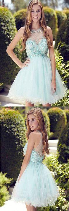 Elegant Light Blue Short Prom Dress,Homecoming Dress,Party Dress For Girls,Sweet 16 Cocktail Dress,Homecoming Dress,SVD557