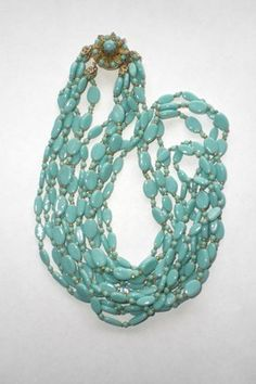 Vintage Miriam Haskell six stands turquoise glass bead necklace