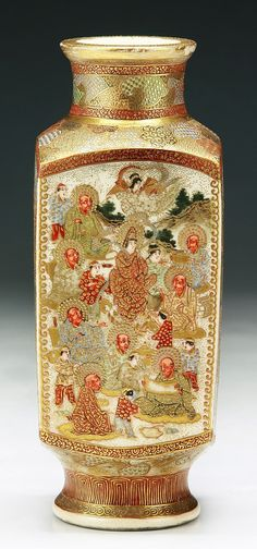 A Japanese Antique Gilt Satsuma Porcelain Vase