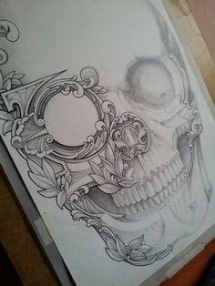 Skull Dirty Money 2 pencil ink www.redzonetattoo.cz