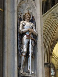 Archangel Michael, Salisbury Cathedral, England I'm a big fan of his! Angels Among Us, Angels And Demons, Male Angels, St. Michael, Salisbury Cathedral, Religion, Angel Sculpture, Kunst Online, I Believe In Angels