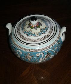 "Wedgwood Florentine Turquoise Sugar w/Lid, 3½"" tall. $40.00 at nardstrom on ebay, 4/21/16"