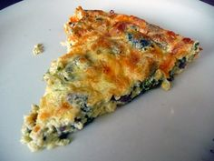 Mushroom, Spinach, & Swiss Quiche. Made on 3/9/12.  Delicious.  Use skim milk instead of 1/2 and 1/2.  Added some ham, too!