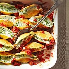 Low Calorie Spinach & Ricotta Stuffed Shells.
