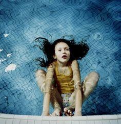 blue, girl, medium format, photography, pool, rene radka