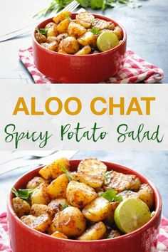 indian food Aloo chaat is a serving of shallow fried baby potato halves in a medley of spices and a dash of tamarind chutney. Indian Potato Recipes, Indian Food Recipes, Vegetarian Recipes, Easy Indian Snacks, Healthy Recipes, Indian Salads, Indian Dishes, Easy Chinese Recipes, Korean Recipes