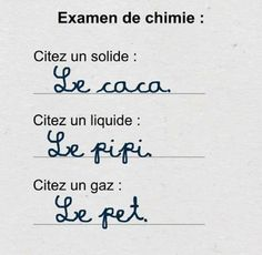 Réponses à l'examen de chimie du concret ! Jokes Quotes, Funny Quotes, Hilario, Funny Puns, Crazy People, Derp, Laughing So Hard, Affirmations, Haha