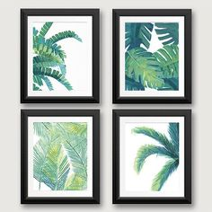 Tropical Leaf Prints, Tropical Leaf Art, Tropical Wall Decor, Banana Leaf, Beach House Decor, Palm Tree, Palm Tree Print, Fern, Set of 4