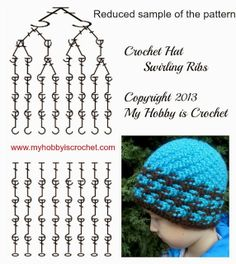 Charted Pattern Crochet Hat Swirling Ribs c097ef96a1a