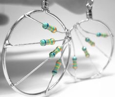 these are getting lots of <3 today! Upcycled Resistor Earrings Teal Green Hoop Circle by clonehardware, $15.00