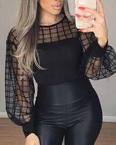 Sheer grid mesh casual shirt Women Long sleeve tops womens top Black plaid slim tops summer 2019 Lantern sleeve blusas, Black / S Trend Fashion, New York Fashion, Look Fashion, Womens Fashion, Fall Fashion, Fashion Ideas, Mode Outfits, Casual Outfits, Casual Shirt