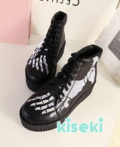 Skelleton Skull Creeper Shoes Boots Pastel Goth Pastel Grunge Creepy Cute