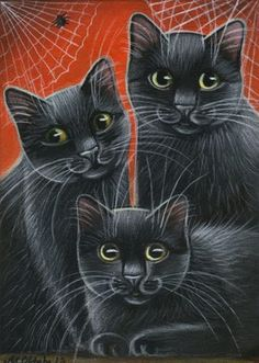 Black Cats Halloween Painting
