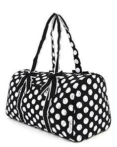 New Belvah quilted monogrammable duffle bag or gym bag Duffle, Duffel Bag, Polka Dot Print, Polka Dots, Black And White Bags, Custom Caps, Cheer Dance, Hospital Bag, Quilted Bag