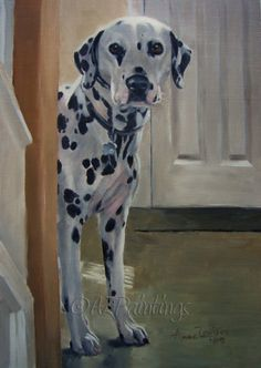 Spotted! - Dalmatian dog oil painting, painting by artist Anne Zoutsos