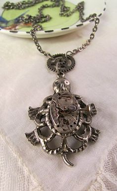 Steampunk Turtle Upcycled Vintage Watchpart Pendant Necklace | TimelessDesigns - Jewelry on ArtFire