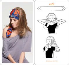 Learn how to wear your Hermes Scarf in different ways. Hermès Scarf Around Your Neck, as a Belt, Clothing Accessory, Handbag and more. Explore how to Tie a Hermes Scarf in stylish ways! Ways To Wear A Scarf, How To Wear Scarves, Moda Fashion, Fashion Tips, Fashion Vestidos, Scarf Knots, Summer Scarves, Scarf Hairstyles, Simple Hairstyles