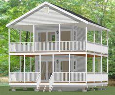 24X24 Garage with Loft   12x12 House w/ Loft & Wrap Around Porch -- #12X12H1A -- 268 sq ft
