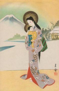 Vierge à l'Enfant - Icone catholique japonaise http://paradis-paris.com/sur-le-chemin-du-paradis-au-japon/ #icone #japon #japan #catholic