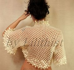 Ivory Wedding Shrug Bridal Bolero Crochet Lace Shrug by lilithist