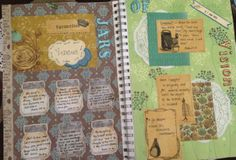 smash book page ideas | SMASH page using free printables of jars and vintage labels