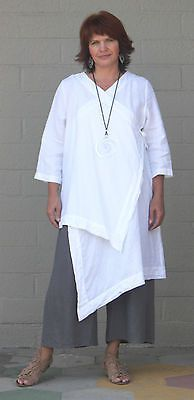 BRYN-WALKER-Linen-Lagenlook-ZENA-TUNIC-Long-Artsy-Duster-Top-S-M-L-XL-WHITE
