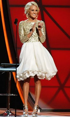 Carrie Underwood in an Alice + Olivia Cocktail Dress with Multi-Layered Cupcake Skirt