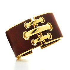 David Webb Shoelace cuff in bloodwood and gold, which is part of the new Woodworks collection