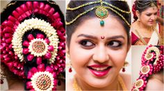 Traditional Southern Indian bride wearing bridal saree, hairstyle and makeup.