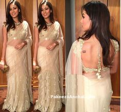 Mira Rajput in Golden Half Saree and Backless blouse by Arpita Mehta-PakeezaAnchal.com