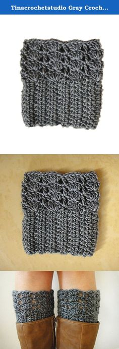 """Tinacrochetstudio Gray Crochet Boot Cuffs Toppers with Scallop Edge Handmade. We are family business. All items in my shop are all 100% handmade crocheted in a pet-free, smoke-free, clean home. Every item was uniquely crocheted with love. We hope you may love them as we do. Measured about 12""""-14"""" in calf circumference and 5.5"""" in length. Black, gray, beige, ivory colors are available. If you need them to be made in a different color or size. Pls feel free to request a custom order. thanks."""