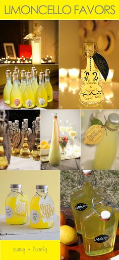 Limoncello favor ideas with packaging tags