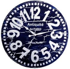 Large Wall Clock 30 inch Navy Blue Murillo PARIS heavy crackle - Navy Blue & White tuscan antique style big numbers rustic distressed