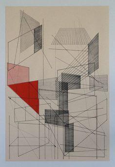 Element overlap silkscreen print by benkafton on Etsy Colour Architecture, Architecture Graphics, Printed Matter, Silk Screen Printing, City Art, Book Art, Drawings, Artwork, Prints
