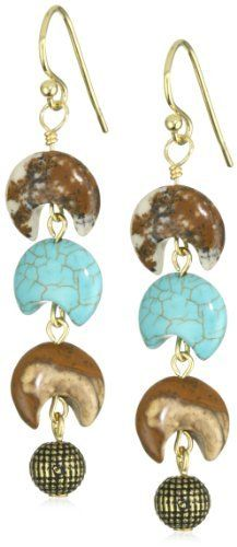 a.v. max Linear Moon Bead Earrings a.v. max. $23.25. Made in USA. Hand-made in New York. Turquoise, jasper and brass