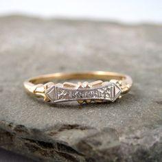 Retro+Wedding+Ring++Vintage+14K/18K+Gold+Wedding+by+ASecondTime,+$450.00
