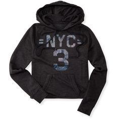 Aeropostale NYC 3 Cropped Pullover Hoodie (€13) ❤ liked on Polyvore featuring tops, hoodies, black, black hoodies, black hooded sweatshirt, black hoodie, metallic crop top and hoodie pullover